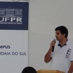Palestra do coordenador do curso de Licenciatura em Computação, professor Robertino Mendes Santiago Junior. Foto: Sinué Naico