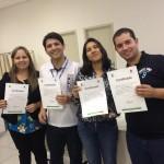 (Da esquerda para direita) Karen Fabiane Correa Alves (Fonoaudióloga); Anderson Rafael Siqueira Nascimento (Intérprete da UFPR); Josiane  Junia Facundo de Almeida (Professora da UEL) e Lucas de Moraes Negri (Intérprete do IFPR).